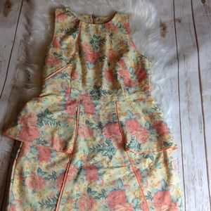 Mustard Seed Floral Sleeveless Peplum Dress Size S